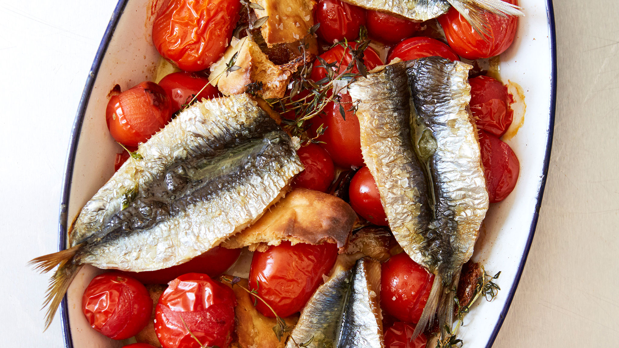 Recipe: Sardines with roasted tomatoes and crispy pitta