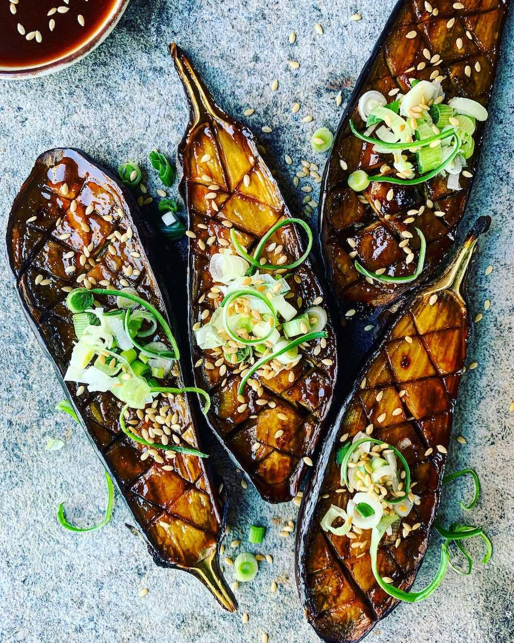 Recipe: Miso-glazed aubergine, Japanese style