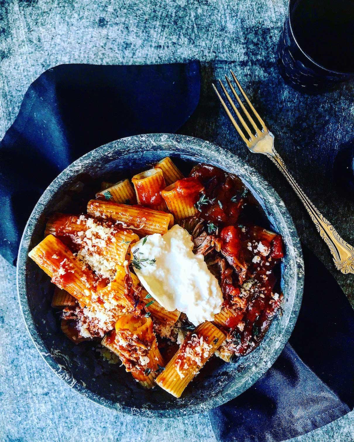 Recipe: Braised Beef Ragu with Rigatoni and Burrata