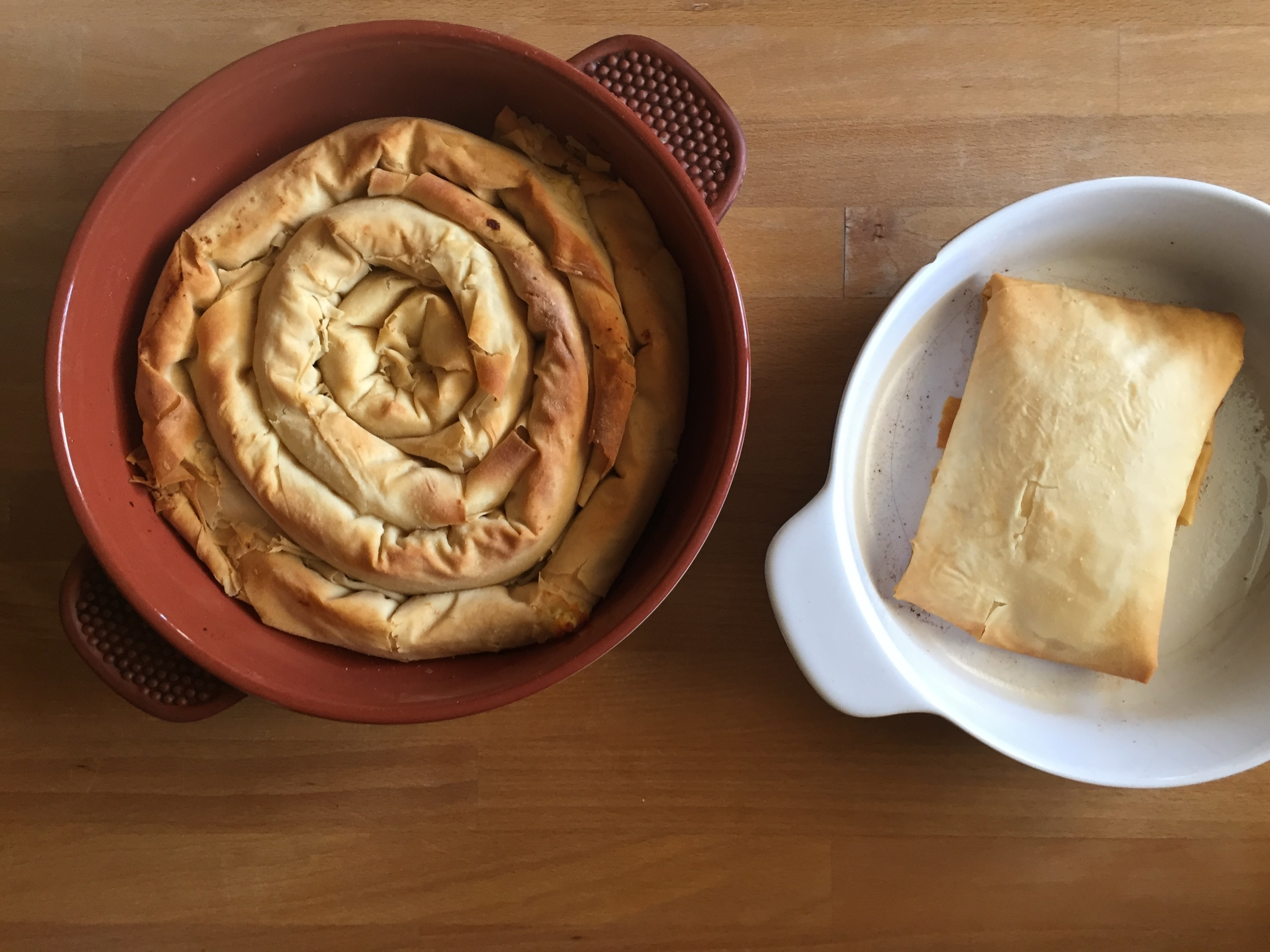 Recipe: Greek cheese phyllo-pastry pie, finished with a dash of honey and walnut crumbs