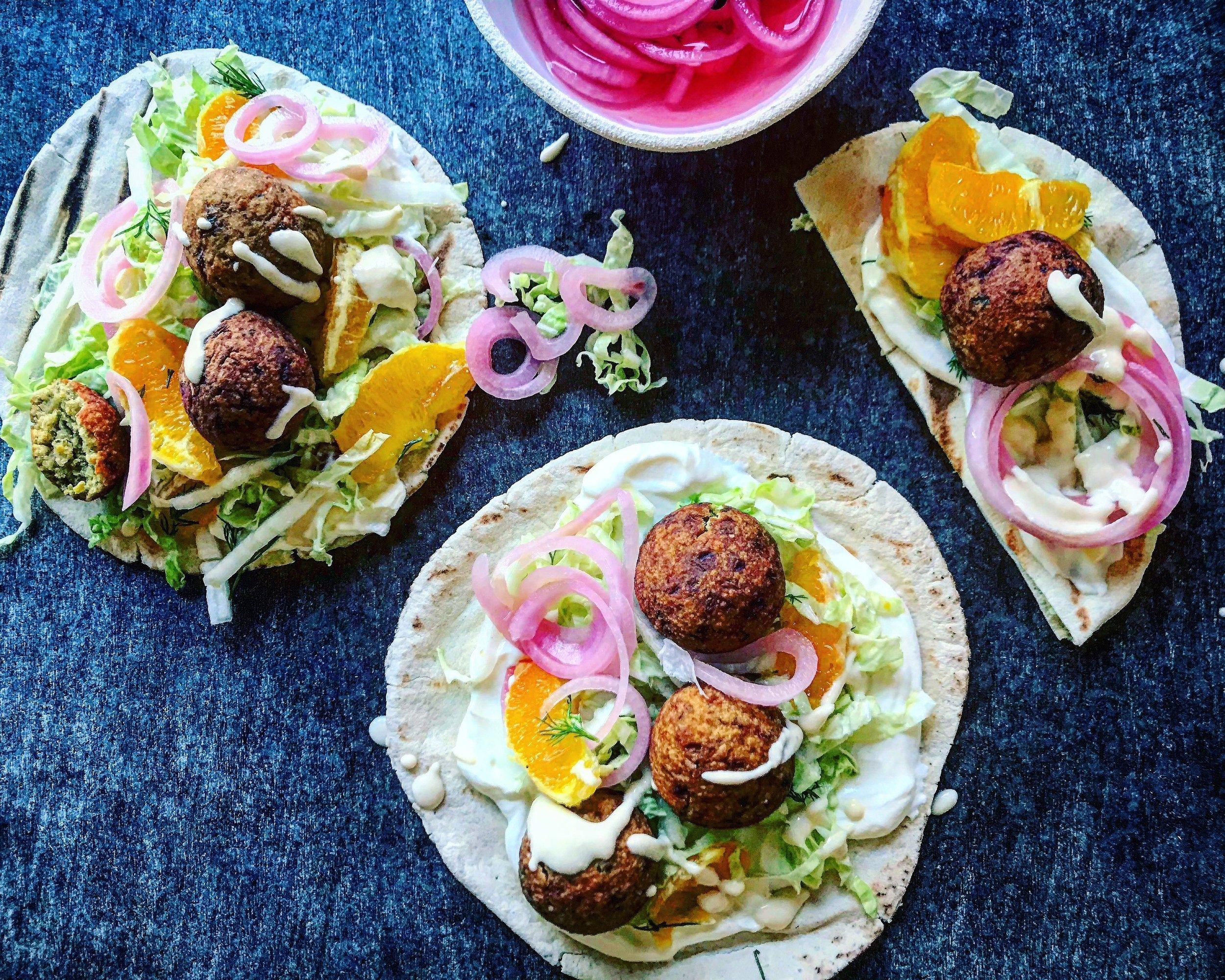 Recipe: Crispy Falafel with yogurt tahini sauce and pickled onions