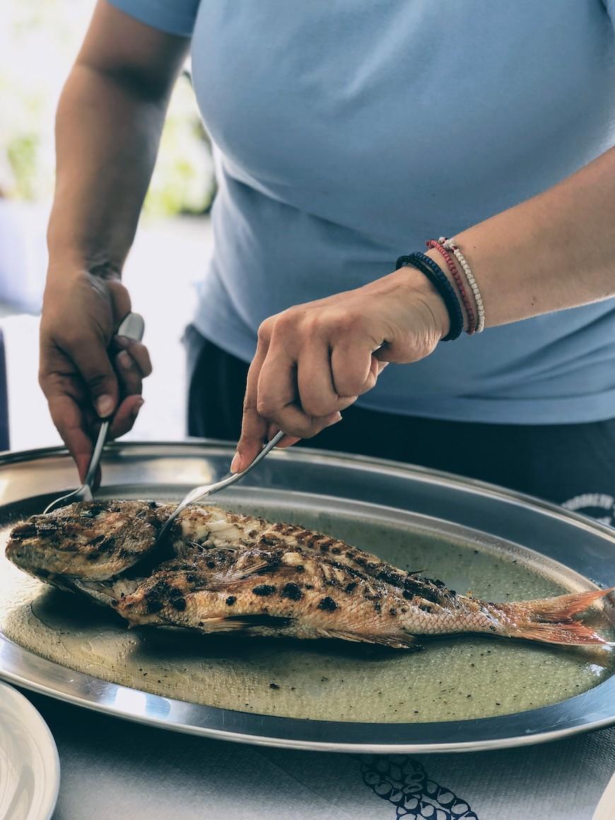 Kythnos: best grilled fish in Kythnos at Ostria
