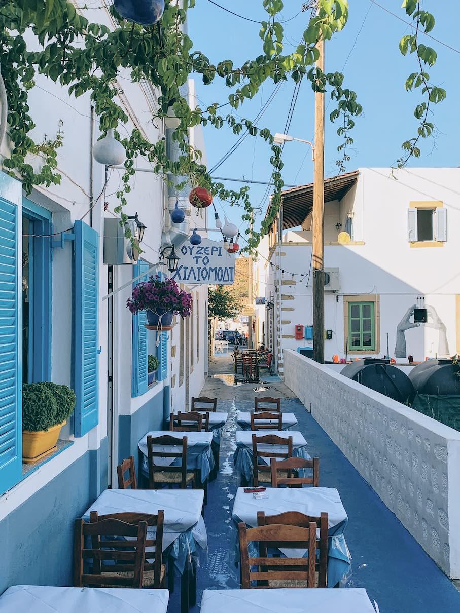 Patmos: casual traditional taverna dining at Hiliomodi